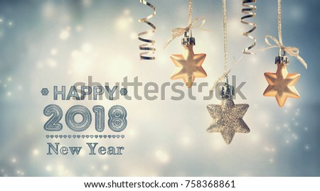 Happy New Year 2018 message with hanging star ornaments #758368861