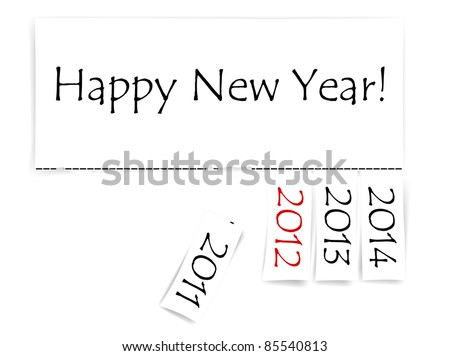 Happy New Year Message With Years From 2011 To 2014 Stock Photo