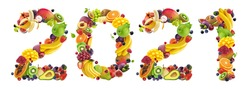Happy New Year 2021. Number 2021 made of tropical, exotic fruits and berries. Creative typography inscription. Banner design of healthy food ingredients