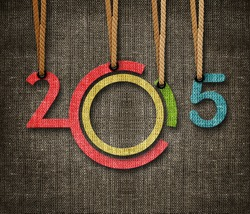 Happy New year 2015,  numbers hunging by rope as puppeteer on sackcloth background, the same concept available for 2016.