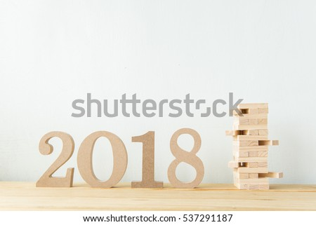 Happy New Year 2018 on a white background #537291187