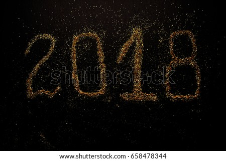 Happy New Year 2018 on black background #658478344