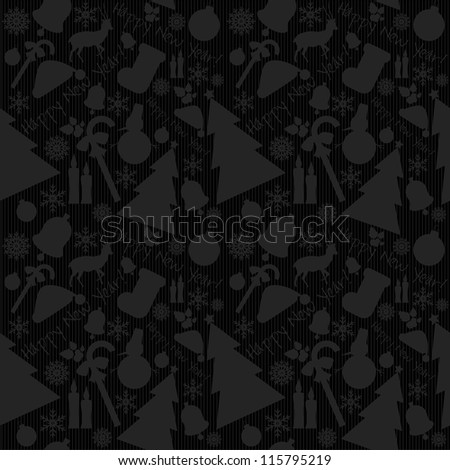 Happy New Year pattern with ribbons, Santa`s  hat, snowman, candles, snowflakes, deer, tree, balls,  stars. - stock photo