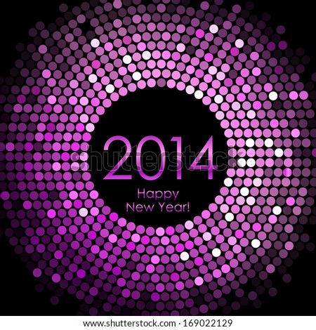 Happy New Year 2014 purple disco lights background