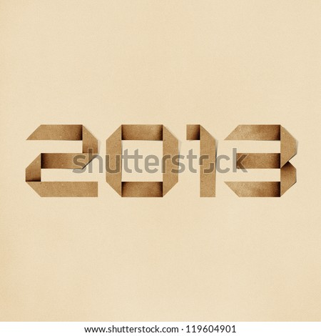 Happy new year 2013 recycled paper background.