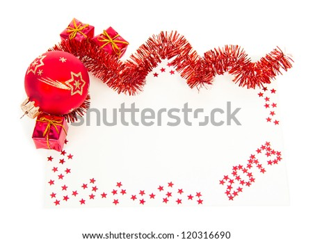 Happy New Year 2013 red greeting card with red tinsel, ball, gift boxes isolated on white