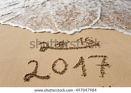 Happy New Year 2017 replace 2016, lettering on the beach #497047984