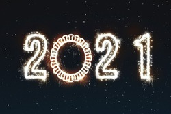 Happy New Year's set of numbers 2021 corona virus covid-19 fireworks 2021 at new year eve in winter concept photo: fireworks shaped as coronavirus and night sky background for print and web fire works