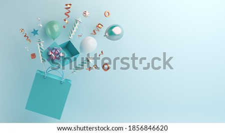 Happy new year 2021 sale banner background with shopping bag, gift box, balloon, firework rocket, ribbon, 3D rendering illustration