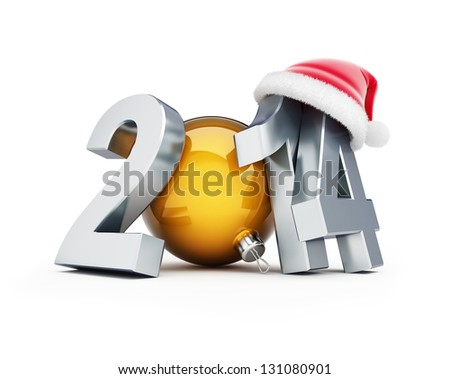 happy new year 2014 santa hat 3D Illustrations on a white background