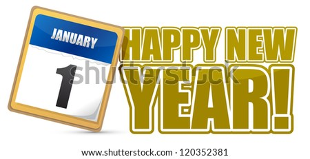 happy new year sign calendar illustration design
