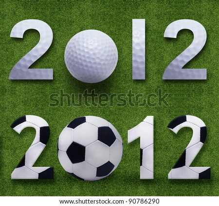 Happy new year 2012, Soccer and Golf sport conceptual image