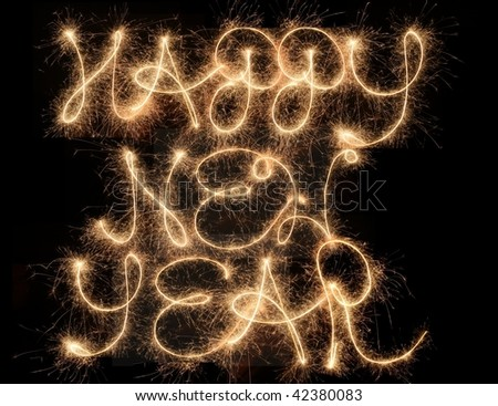 Happy New Year - sparklers in the night