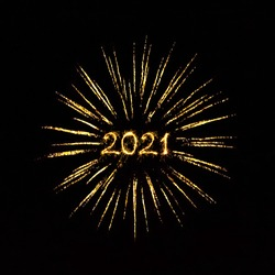 Happy New Year 2021. Sparkling number 2021 Year in Golden frame of ray firework on black background. Beautiful Glowing golden overlay object for design holiday greeting card, billboard and Web banner