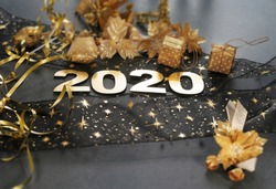 Happy New Year 2020. Symbol from number 2020 on stone background