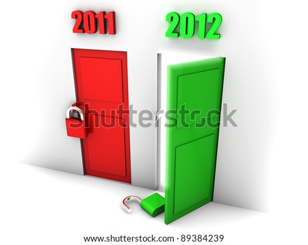 happy new year symbolized by an open green door showing the passing from 2011 to 2012 - stock photo