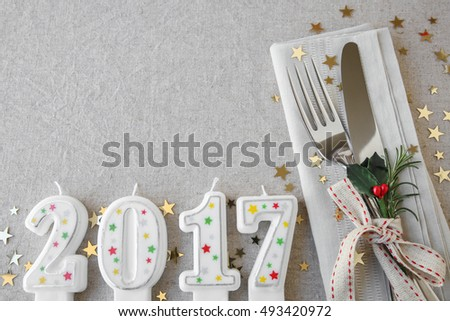 Happy New Year 2017 table place setting, holidays copy space background