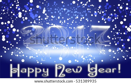 Happy New Year 2017 text design.  illustration with a white  and blue numbers #531389935