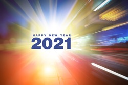 Happy New 2021 Year text on abstract futuristic background