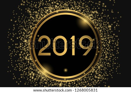 Happy New Year 2019 texture typography  gold glitters and black background  #1268005831