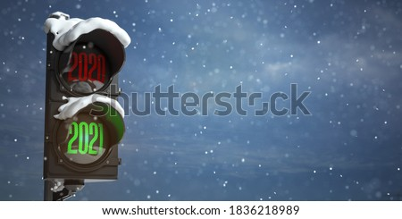 Happy new year 2021. Traffic light with green light 2021  and red 2020 on sky background. 3d illustration