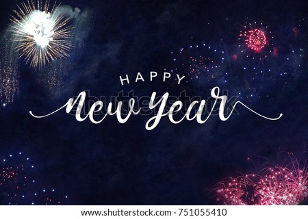 Happy New Year Typography with Fireworks in Night Sky #751055410
