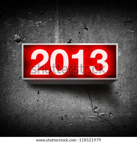 Happy new year, vintage light display with number 2013.
