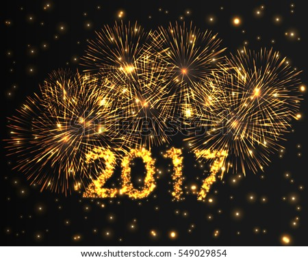 Happy New Year 2017 violet firework background. Greeting card with particle. Graphic illustration