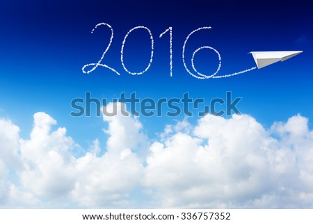 happy new year 2016, white cloud and blue sky on sunny day.
