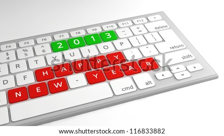 Happy New Year wishes 2013 as keys on a computer keyboard, with focus on wishes.