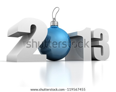 happy new year 2013 with blue fur-tree ball on a white background