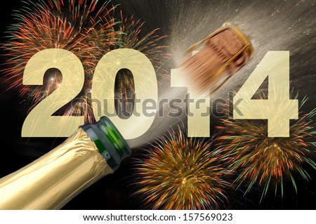 happy new year 2014 with champagne and firework