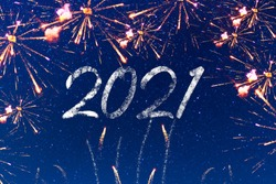 Happy new year 2021 with firework and starry blue sky background. Poster, banner, billboard or greeting card for merry christmas and happy new year celebration with stars. Wish a Happy New Year 2021.