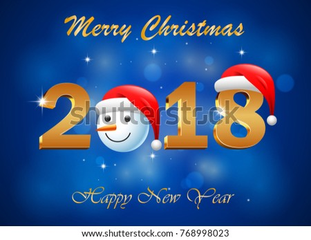 Happy new year 2018 with firework background.