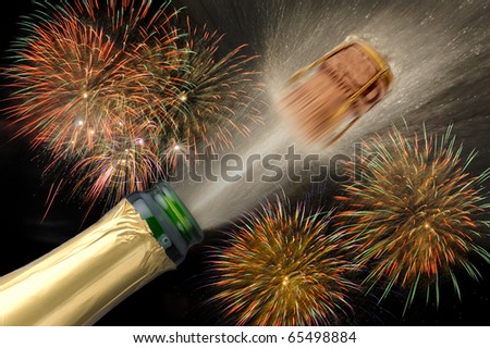 happy new year 2012 with popping champagne cork and firework at background