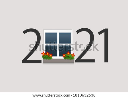 Happy new year 2021. 2021 with window on isolated background