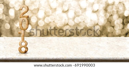Happy new year 2018 wood number (3d rendering)on marble table with sparkling gold bokeh wall,panoramic banner for display or montage of product for holiday promotion and advertise for online content #691990003