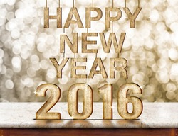 Happy New Year 2016 wood texture on marble table with gold sparkling bokeh wall,Holiday concept