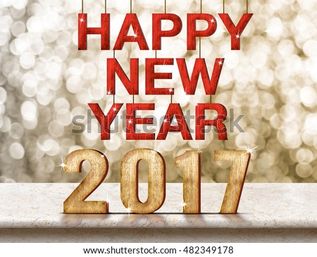 Happy New Year 2017 wood texture on marble table with sparkling bokeh wall,Holiday concept.