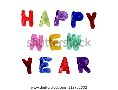 happy new year written in different colors on a white background