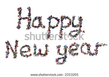 Happy new year written in glitter.