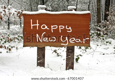 Happy New Year written on a wooden sign in the snowy woods in winter