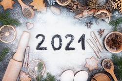 Happy New Year 2021 written on flour. Christmas, New Year greeting card