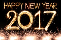 Happy new year 2017 written with Sparkle firework