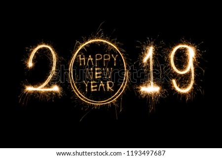 Happy new year 2019  written with Sparkle firework #1193497687