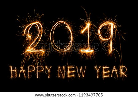 Happy new year 2019  written with Sparkle firework #1193497705