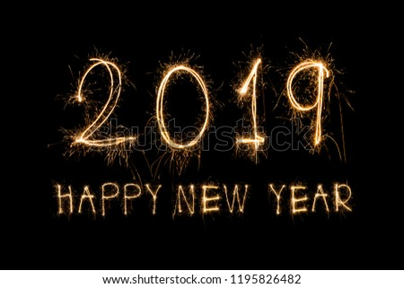Happy new year 2019  written with Sparkle firework #1195826482