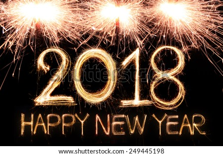 happy new year 2018 written with sparkle firework 249445198