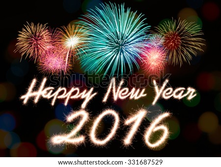 Happy new year 2016 written with Sparkle firework #331687529
