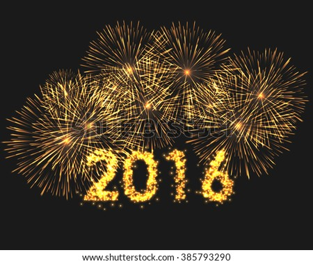 Happy new year 2016 written with Sparkle fireworks isolated on black. Graphic illustration